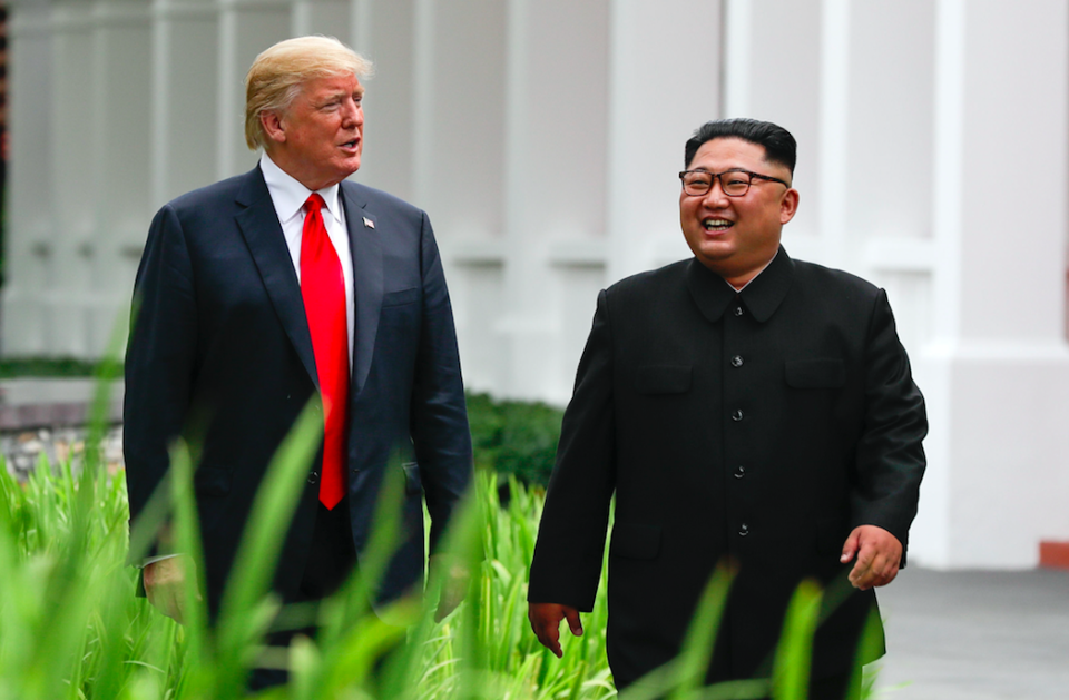 <em>The pair laughed together as they met at the historic summit (PA)</em>