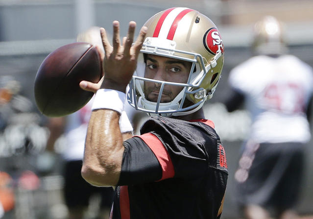 "<a class=""link rapid-noclick-resp"" href=""/nfl/teams/sfo"" data-ylk=""slk:San Francisco 49ers"">San Francisco 49ers</a> quarterback <a class=""link rapid-noclick-resp"" href=""/nfl/players/27590/"" data-ylk=""slk:Jimmy Garoppolo"">Jimmy Garoppolo</a> . (AP Photo/Jeff Chiu, File)"