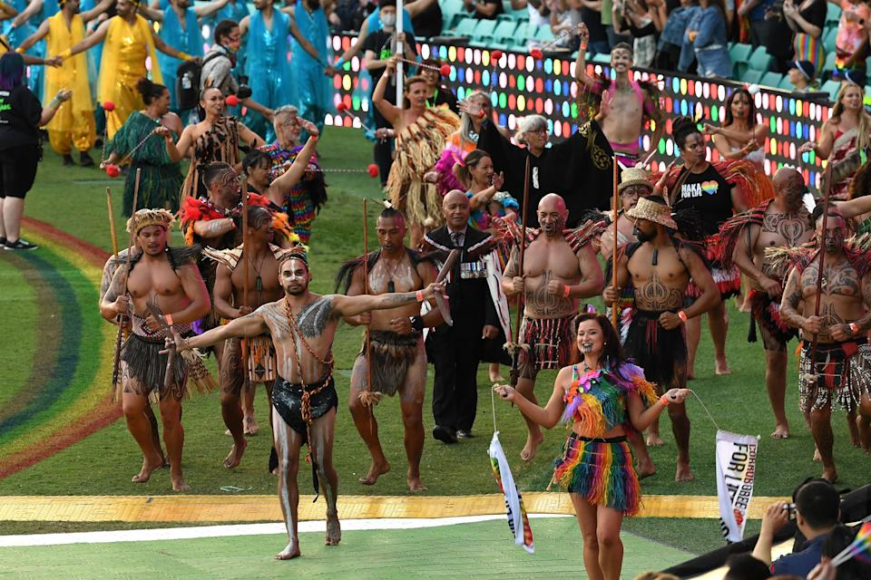 Haka For Life and Corroboree for Life at the 43rd Sydney Gay and Lesbian Mardi Gras Parade at the SCG on March 06, 2021 in Sydney, Australia. (Photo: James D. Morgan/Getty Images)