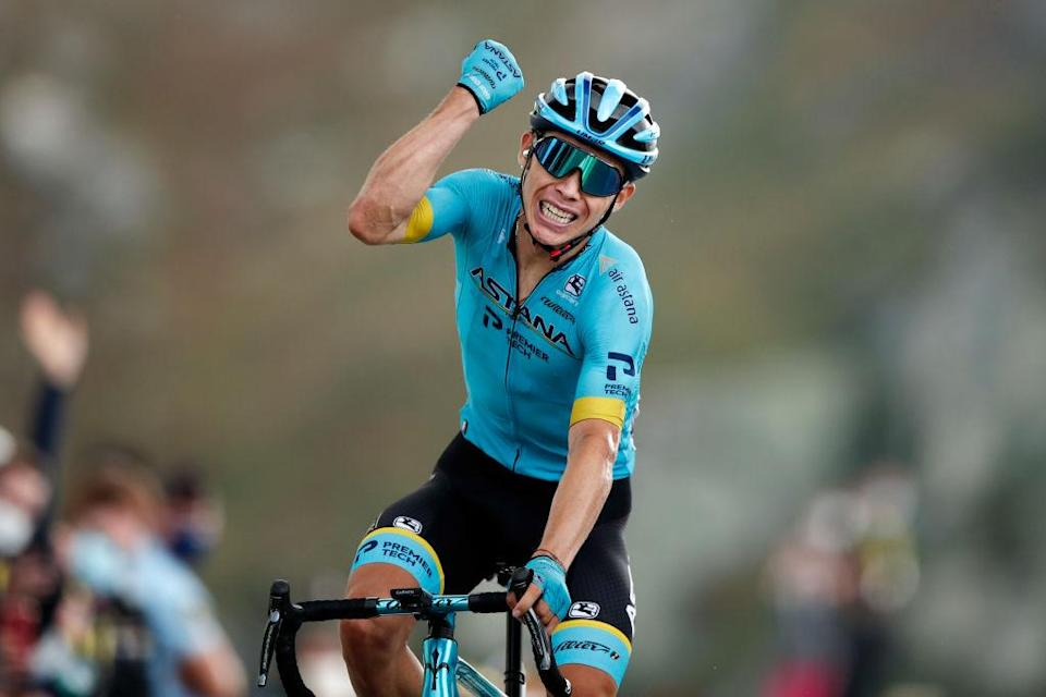 MERIBEL FRANCE  SEPTEMBER 16 Arrival  Miguel Angel Lopez Moreno of Colombia and Astana Pro Team  Celebration  during the 107th Tour de France 2020 Stage 17 a 170km stage from Grenoble to Mribel  Col de la Loze 2304m  TDF2020  LeTour  on September 16 2020 in Mribel France Photo by Benoit Tessier  PoolGetty Images