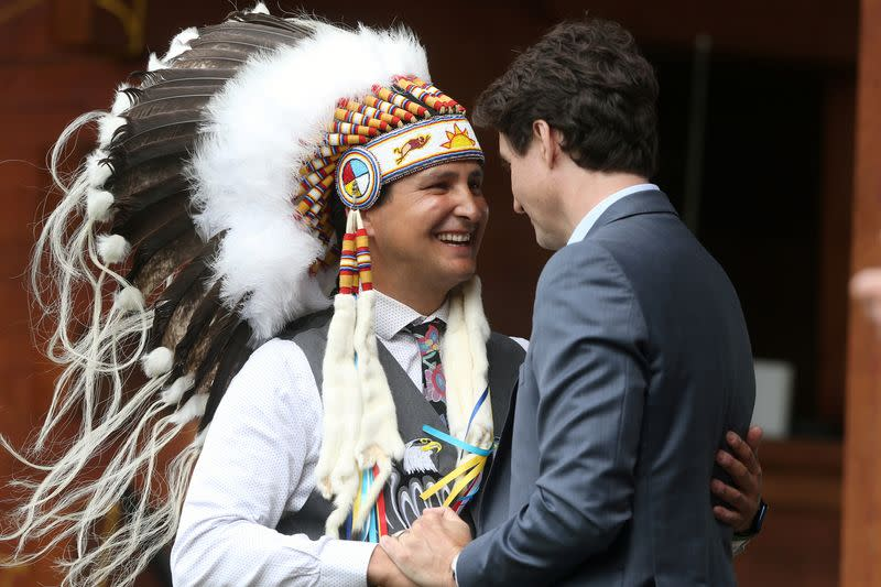 Canada's Prime Minister Justin Trudeau visits the Cowessess First Nation