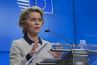 European Commission President Ursula von der Leyen speaks during a news conference following an EU Summit video conference at the European Council building in Brussels, Thursday, Nov. 19, 2020. European Union leaders made no progress Thursday toward resolving a diplomatic dispute with EU members Poland and Hungary to unlock a 1.8 trillion-euro ($2.1 trillion) budget and recovery package aimed at putting the bloc's economy back on track after the pandemic. (AP Photo/Olivier Matthys, Pool)