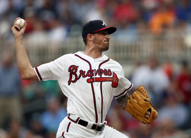"<a class=""link rapid-noclick-resp"" href=""/mlb/teams/atl"" data-ylk=""slk:Atlanta Braves"">Atlanta Braves</a> starting pitcher <a class=""link rapid-noclick-resp"" href=""/mlb/players/9334/"" data-ylk=""slk:Kevin Gausman"">Kevin Gausman</a> is enjoying his move to the National League (AP Photo)."
