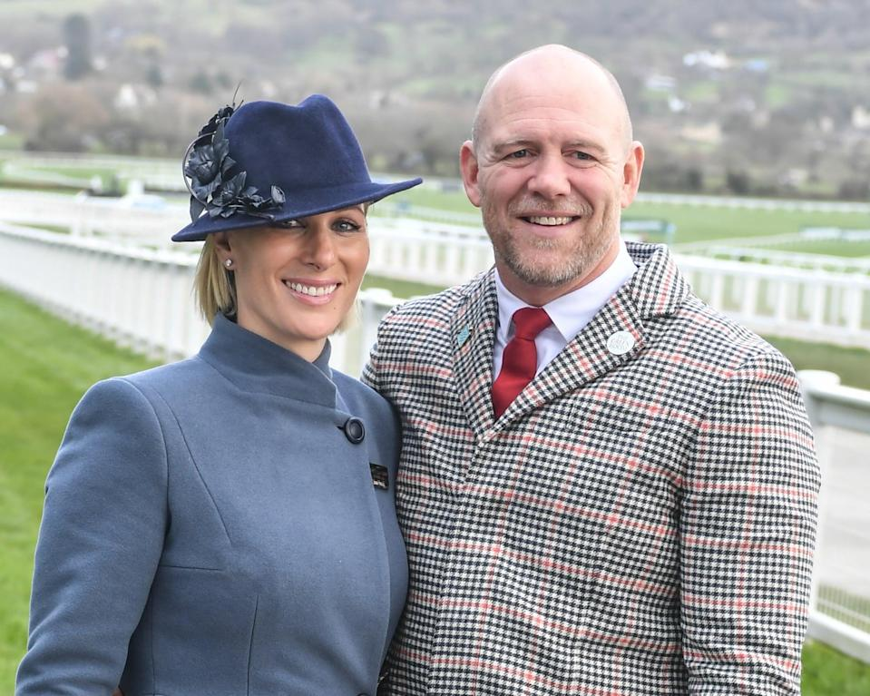 CHELTENHAM, ENGLAND - MARCH 12: Zara Tindall and Mike Tindall attend Day 3 of the Cheltenham Festival 2020 at Cheltenham Racecourse on March 12, 2020 in Cheltenham, England. (Photo by MelMedia/GC Images)