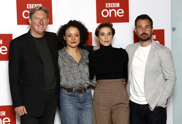 """Adrian Dunbar, Rochenda Sandall, Vicky McClure and Martin Compston attend the """"Line of Duty"""" photocall at BFI Southbank on March 18, 2019 in London, England. (Photo by John Phillips/Getty Images)"""