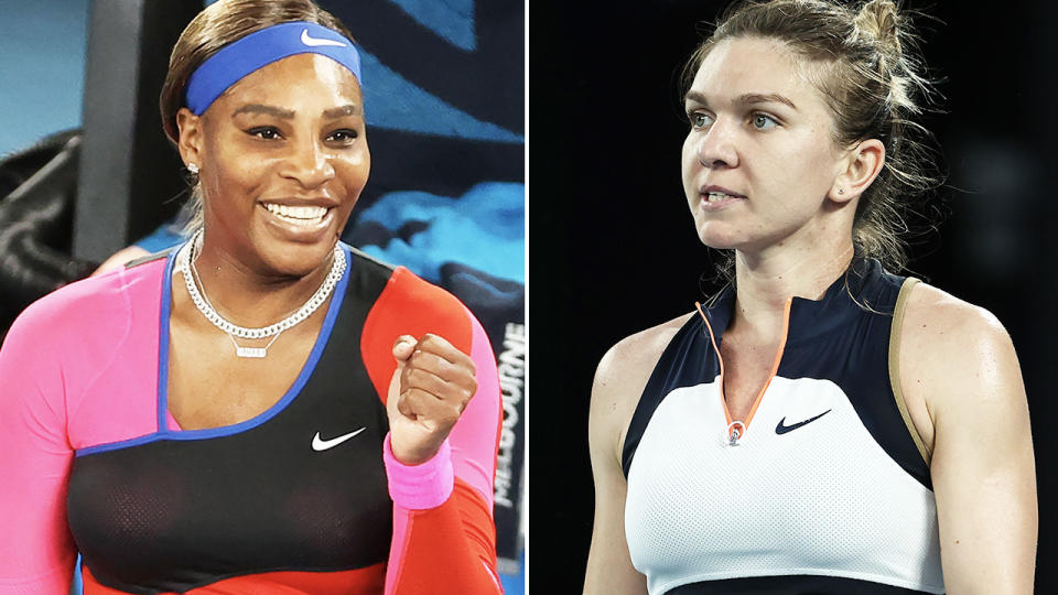 Serena Williams and Simona Halep, pictured here at the Australian Open.