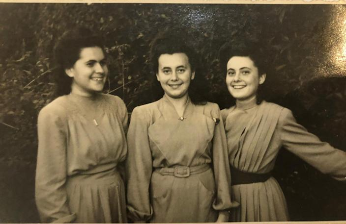 Image: Lily Ebert, center, with her sisters who were sent to Auschwitz together and endured slave labor and the death march during WWII. (Dov Forman)