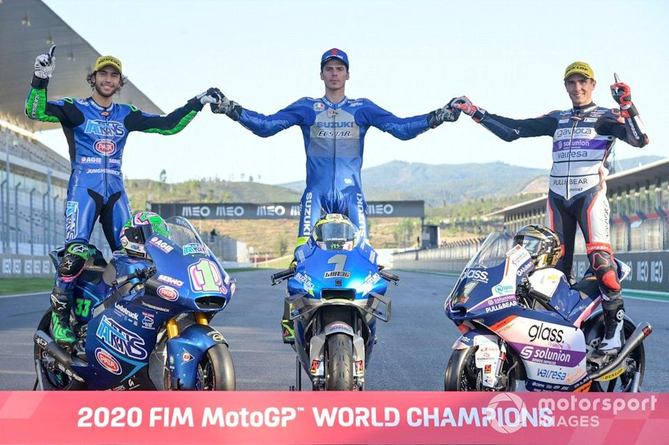 "Les Champions du monde 2020 : Enea Bastianini, Italtrans Racing Team, Joan Mir, Team Suzuki MotoGP, Albert Arenas, Aspar Team<span class=""copyright"">Gold and Goose / Motorsport Images</span>"