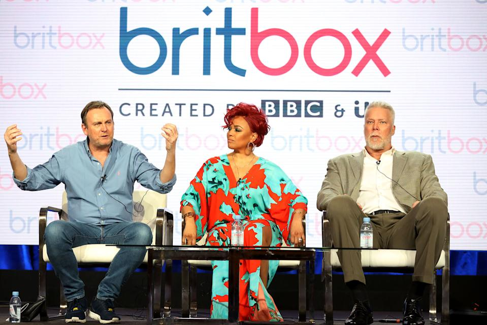 """PASADENA, CALIFORNIA - FEBRUARY 09: (L-R) Philip Gienister, Kim Fields, and Kevin Nash of the television show """"Living The Dream"""" speak during the 2019 Britbox segment of the 2019 Winter Television Critics Association Press Tour at The Langham Huntington, Pasadena on February 09, 2019 in Pasadena, California. (Photo by Frederick M. Brown/Getty Images)"""