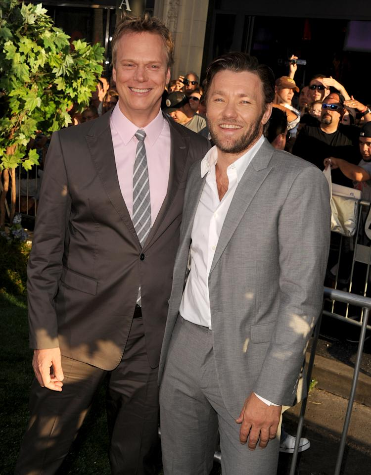 """HOLLYWOOD, CA - AUGUST 06:  Director Peter Hodges, and actor Joel Edgerton arrive at the premiere of Walt Disney Pictures' """"The Odd Life of Timothy Green"""" at the El Capitan Theatre on August 6, 2012 in Hollywood, California.  (Photo by Kevin Winter/Getty Images)"""