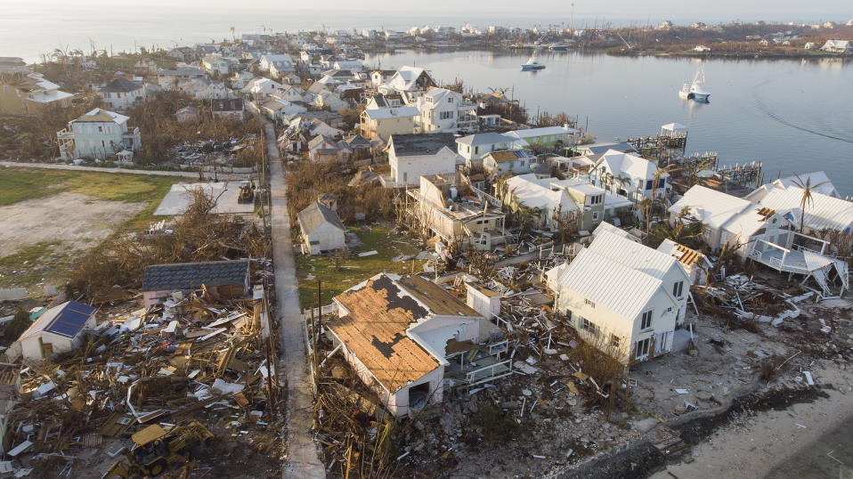 ELBOW KEY, BAHAMAS - SEPTEMBER 7:  An aerial view of view of damaged homes in Hurricane Dorian devastated Elbow Key Island on September 7, 2019 in Elbow Key Island, Bahamas.  The official death toll has risen to 43 and according to officials is likely to increase even more.  (Photo by Jose Jimenez/Getty Images)