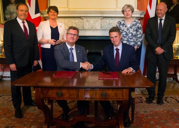 Theresa May was not part of the actual signing of the DUP deal (PA)