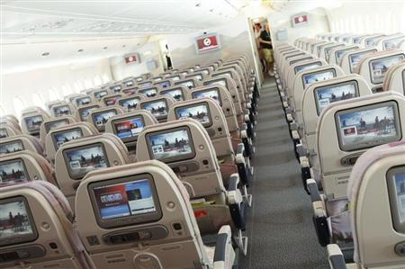 A picture shows the economy class section of an Airbus A380 passenger plane of Emirates Airline at the ILA International Air Show in Schoenefeld outside Berlin, June 8, 2010. REUTERS/Thomas Peter
