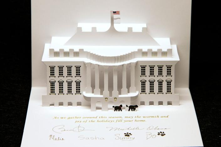 The pop-up 2013 Barack Obama Christmas card, featuring the family's two dogs, Sunny and Bo.The White House