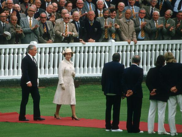 HM Queen about to meet the teams, incl Dickie Bird (centre right), England v Australia, 2nd  Test, Lord's, Jun 85.  (Photo by Patrick Eagar/Patrick Eagar Collection via Getty Images)