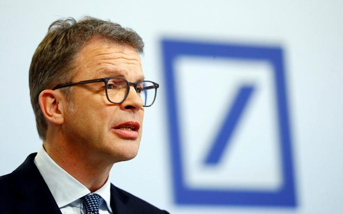 FILE PHOTO: Christian Sewing, CEO of Deutsche Bank AG, speaks during the bank's annual news conference in Frankfurt, Germany January 30, 2020. REUTERS/Ralph Orlowski/File Photo - RALPH ORLOWSKI/REUTERS