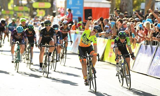 """<span class=""""element-image__caption"""">Chloe Hosking and Alé Cipollini celebrate after winning stage 4 of the Women's Tour Down Under on 14 January in Adelaide. Women will now have their prize money matched with men. </span> <span class=""""element-image__credit"""">Photograph: Daniel Kalisz/Getty Images</span>"""