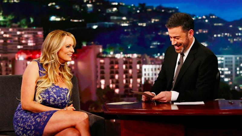 Stormy Daniels dodges affair questions in Kimmel interview