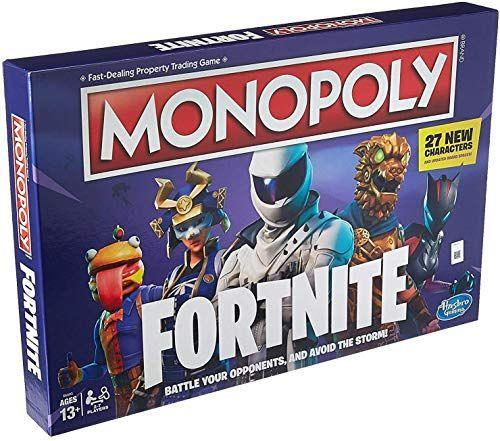 """<p><strong>Monopoly</strong></p><p>amazon.com</p><p><strong>$15.88</strong></p><p><a href=""""https://www.amazon.com/dp/B07NYTDBCR?tag=syn-yahoo-20&ascsubtag=%5Bartid%7C10065.g.32745954%5Bsrc%7Cyahoo-us"""" rel=""""nofollow noopener"""" target=""""_blank"""" data-ylk=""""slk:BUY NOW"""" class=""""link rapid-noclick-resp"""">BUY NOW</a></p><p>Monopoly: Fortnite is all the best parts of Monopoly and Fortnite combined. While the classic Monopoly game is all about making that $$$, this game is all about survival. Instead of money, players collect health points, and chance cards are replaced with Storm cards that can take you out of the game if you aren't careful. </p><p><br>Players battle it out through building walls, the action dye, and completing actions on the board's spaces. Avoid the Storm and heal yourself until you're the last one standing. </p><p><strong><br></strong> </p>"""