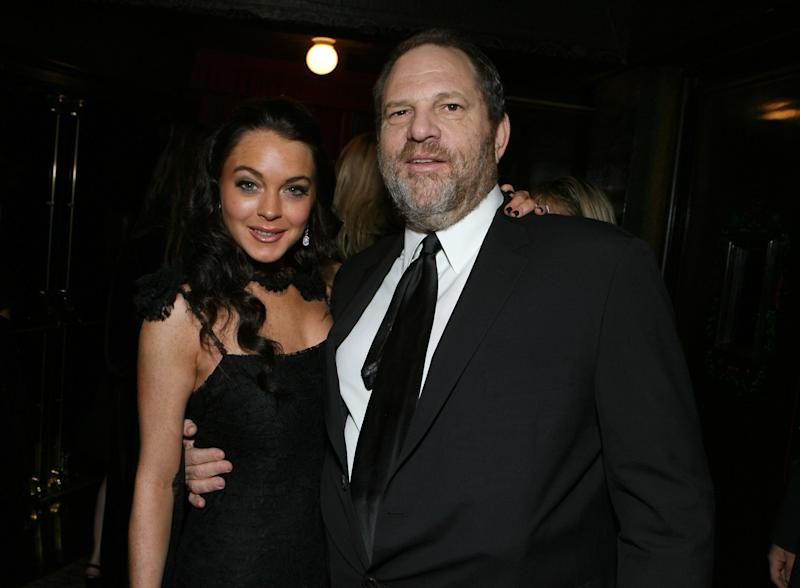 Lindsay Lohan and Harvey Weinstein during the Weinstein Company Hosts Black Tie Opening Night Gala and US Premiere of Emilio Estevez's 'Bobby' at Grauman's Chinese Theatre in Los Angeles, CA, United States. (Photo: E. Charbonneau/WireImage)
