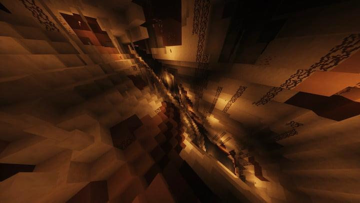 A screenshot of a deep chasm in Minecraft.