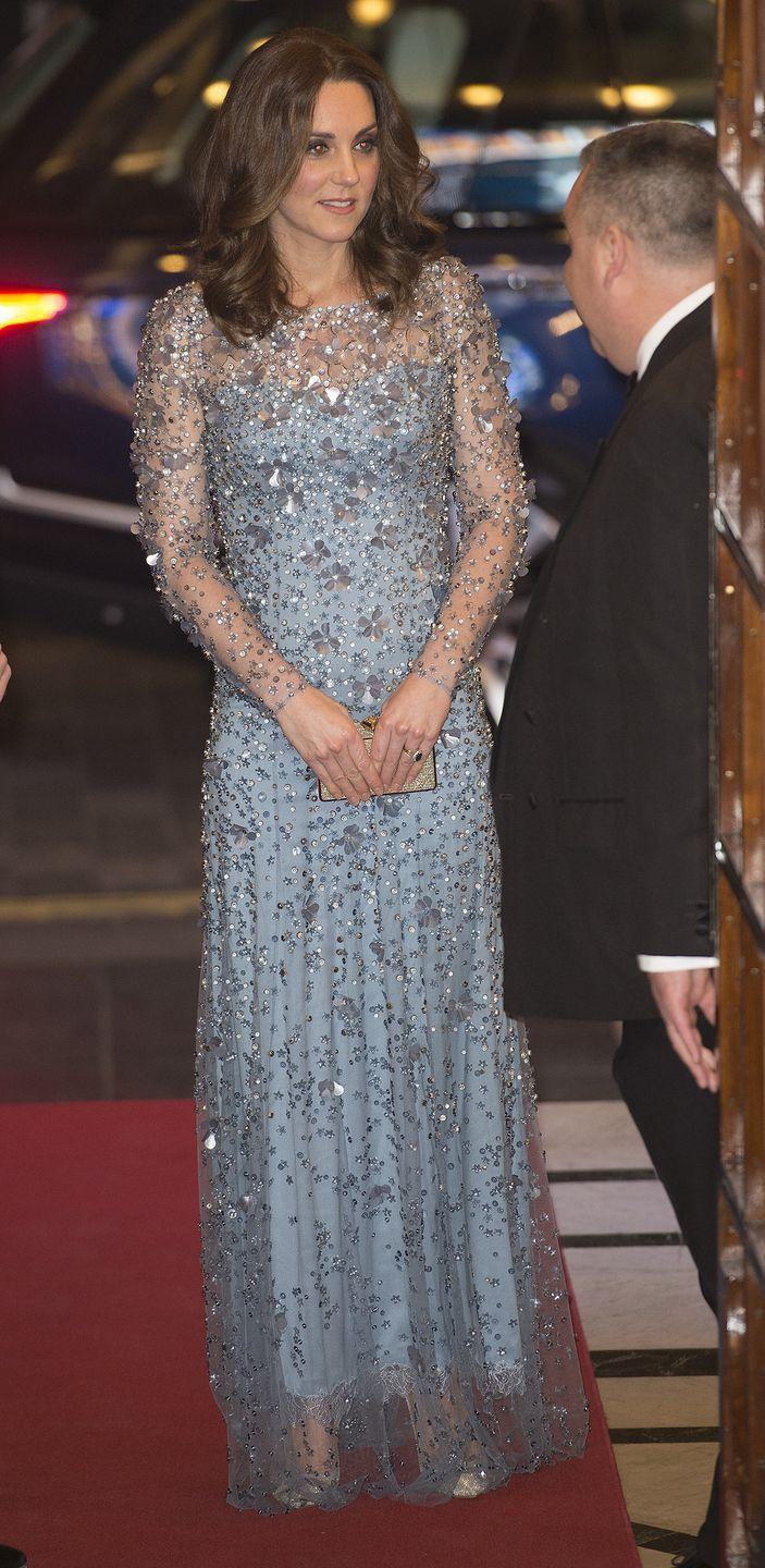 <p>In 2017, the Duchess of Cambridge arrived at the Royal Variety Show in a shimmering Jenny Packham evening gown that looked like it was lifted straight from Elsa's wardrobe. </p>