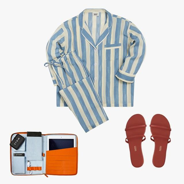 Sleepy Jones Marina pajama set, $198, shop.sleepyjones.com; Tkees Gemma leather slide sandals, $50, tkees.com; Stow tech case, $635, stowlondon.co.uk
