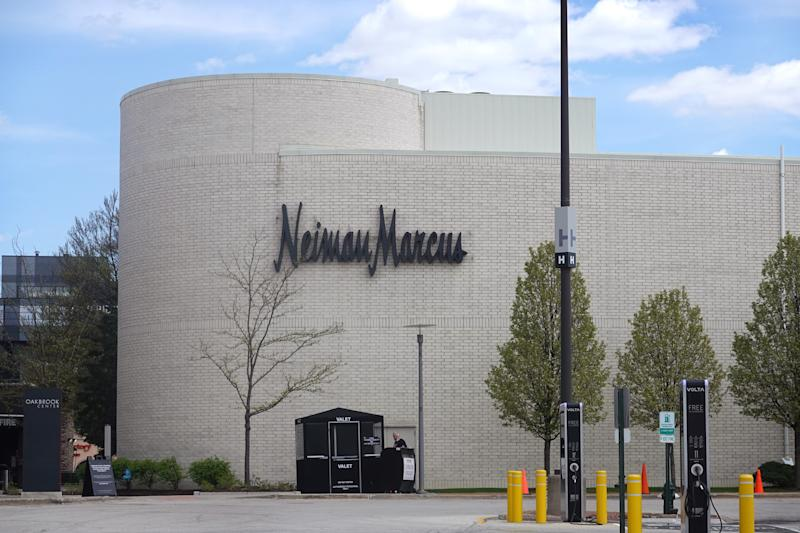 OAK BROOK, ILLINOIS - MAY 07: A sign hangs outside of a Neiman Marcus store that has been shuttered by the COVID-19 pandemic at Oak Brook Center shopping mall on May 07, 2020 in Oak Brook, Illinois. Neiman Marcus filed for bankruptcy today, making it the first major retailer to seek bankruptcy protection since the economic collapse brought on by the coronavirus pandemic. (Photo by Scott Olson/Getty Images)