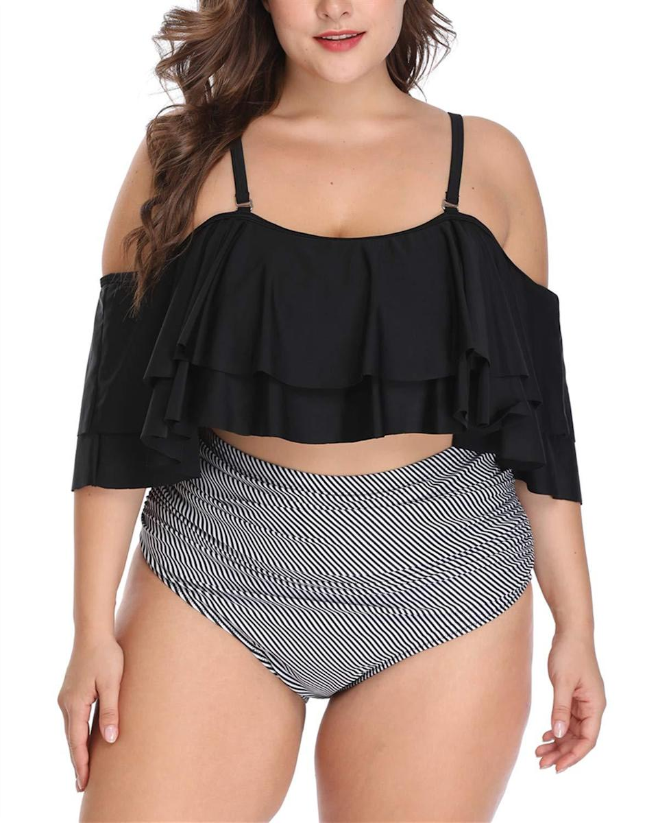 """And if you're looking for an off-shoulder two-piece, this plus-size option is an Amazon win. Here's some real talk from a recent buyer: """"I know ordering a bathing suit from Amazon without trying it on first can be difficult. You order it, don't like how it fits or looks, have to return and repeat. It's even harder for us curvier ladies...I did the raise the arms test, the jumping test, and various other tests to determine how loyal a bathing suit top can be and it actually was able to keep me covered without having to request the top...Everyone's body is different and beautiful and my only goal is to get a top that fits everything and this top did its purpose.""""<br><br><strong>Wavely</strong> Ruffled Off Shoulder High Waist Swimsuit, $, available at <a href=""""https://amzn.to/2Hy94bG"""" rel=""""nofollow noopener"""" target=""""_blank"""" data-ylk=""""slk:Amazon"""" class=""""link rapid-noclick-resp"""">Amazon</a>"""