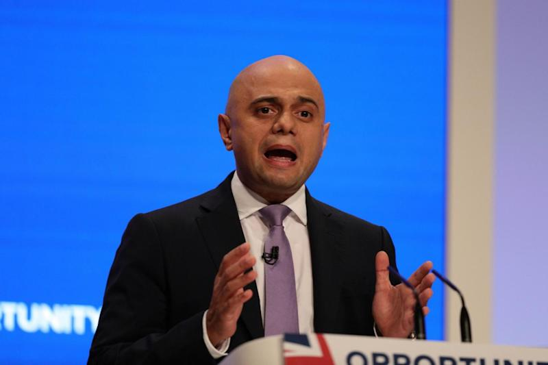 Home Secretary Sajid Javid speaks at the Conservative Party conference (PA)