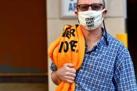 """Activists wears a """"COUNT EVERY VOTE"""" face mask due to the coronavirus pandemic in Philadelphia"""