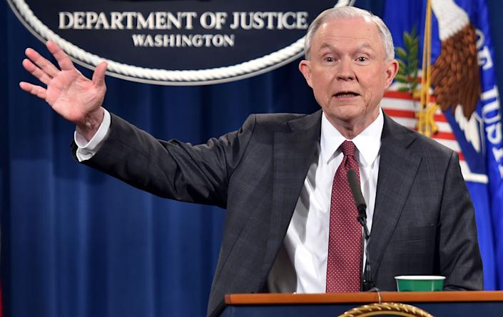 US Attorney General Jeff Sessions speaks during a press conference at the US Justice Department on March 2, 2017, in Washington DC. <br>(Photo: Nicholas Kamm/AFP/Getty Images)