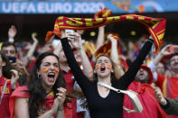Spain team fans cheer prior to the Euro 2020 soccer semifinal match between Italy and Spain at Wembley stadium in London, Tuesday, July 6, 2021. (Laurence Griffiths, Pool via AP)