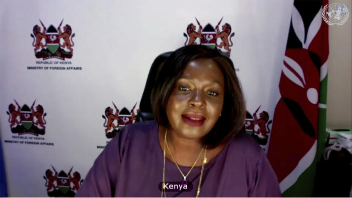 In this image made from UNTV video, Raychelle Omamo, Cabinet Secretary of Kenya, speaks during a U.N. Security Council high-level meeting on COVID-19 recovery focusing on vaccinations, chaired by British Foreign Secretary Dominc Raab, Wednesday, Feb. 17, 2021. (UNTV via AP)