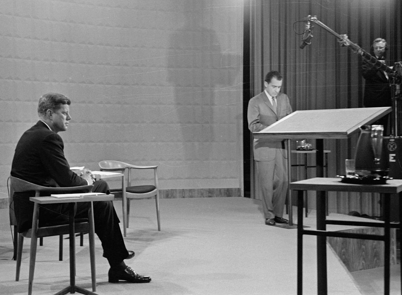 <p>It was during the 1960 presidential campaign that candidates John F. Kennedy and Richard Nixon took part in the first debate that was broadcasted on TV to the public.</p>