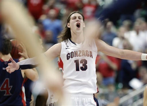 Gonzaga's Kelly Olynyk reacts after Saint Mary's called time out during the second half of the West Coast Conference tournament championship NCAA college basketball game, Monday, March 11, 2013, in Las Vegas. Gonzaga won 65-51. (AP Photo/Julie Jacobson)