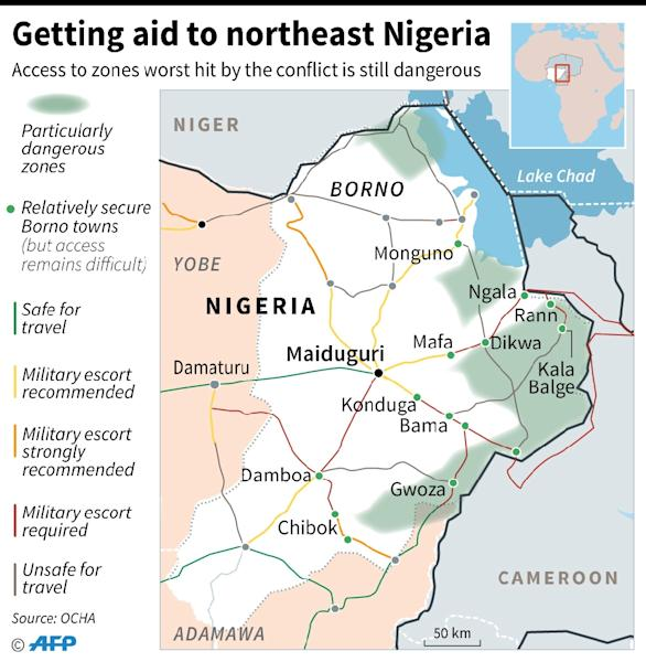 Map of northeast Nigeria, focusing on the difficulties on getting aid to civilians, as of February 2017 (AFP Photo/Jonathan JACOBSEN, Kun TIAN)