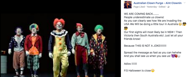 A post shared to the Australian Clown Purge Facebook page on Thursday night.
