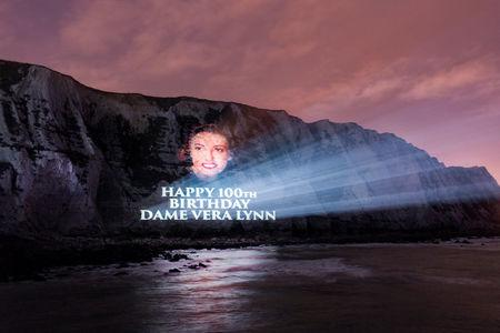 A projection wishing singer and war time sweetheart Vera Lynn a happy birthday is projected on to the cliffs at Dover