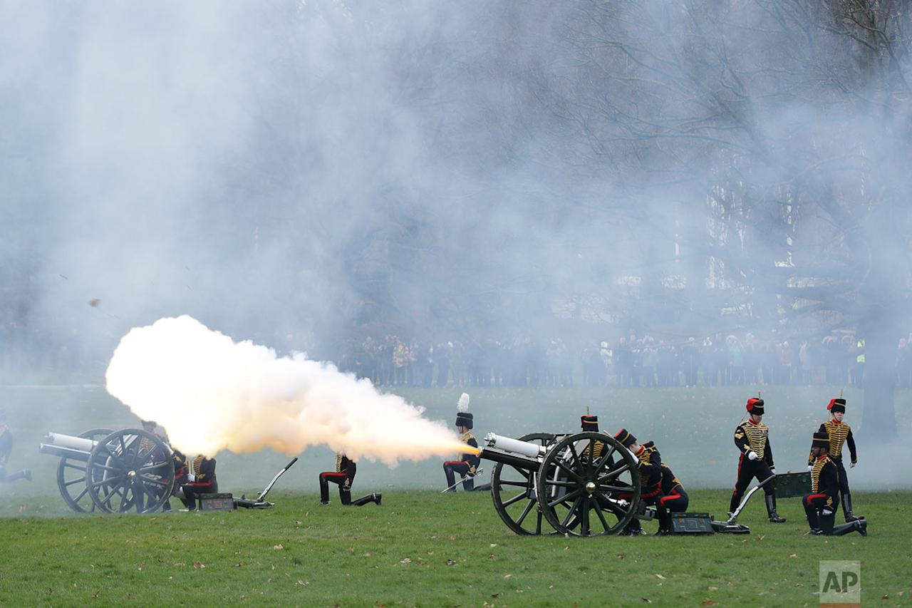 <p>The King's Troop Royal Horse Artillery stage a 41-Gun Royal Salute to celebrate the 66th anniversary of Britain's Queen Elizabeth II's accession to the throne in London. (AP Photo/Matt Dunham) </p>
