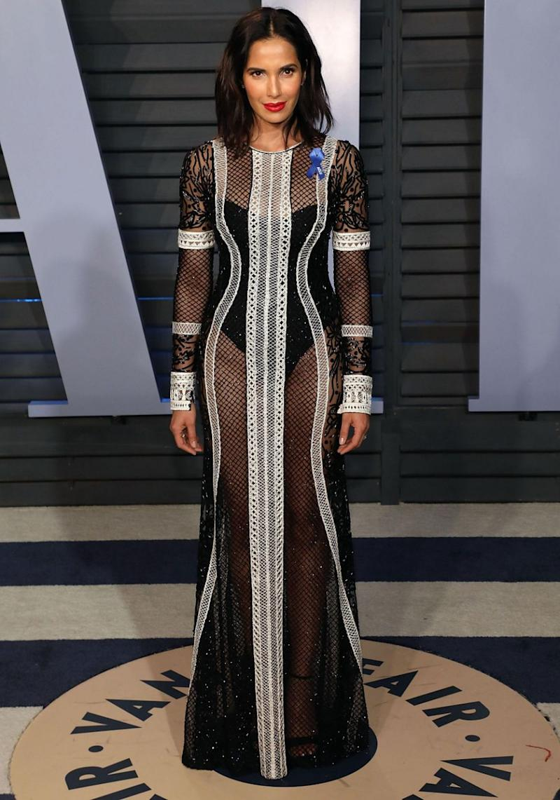 Padma Lakshi stepped out in a see-through black dress. Source: Getty