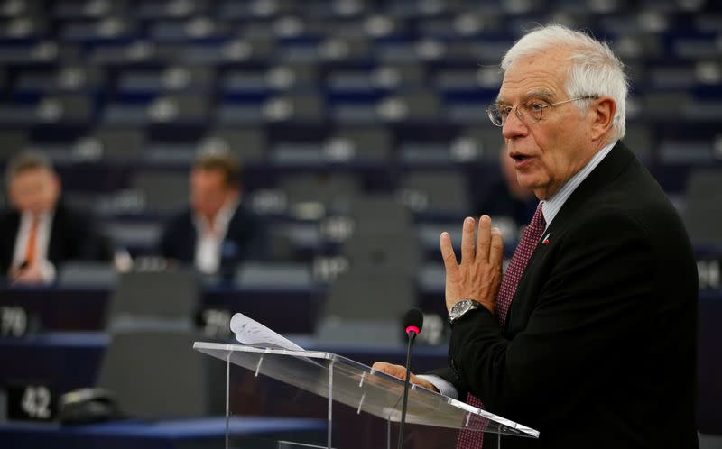 European Union's foreign policy chief Borrell addresses the European Parliament in Strasbourg
