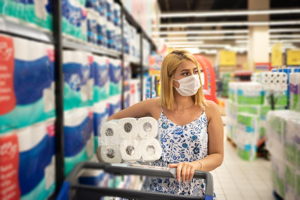 Supermarket chains across the country are setting purchase limits on household items like toilet paper, disinfectants and hand soap as COVID-19 cases rise. (Photo: Getty Creative stock photo)