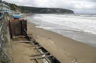 Beach huts in Swanage, Dorset, which have been lost as a result from storm Alex.