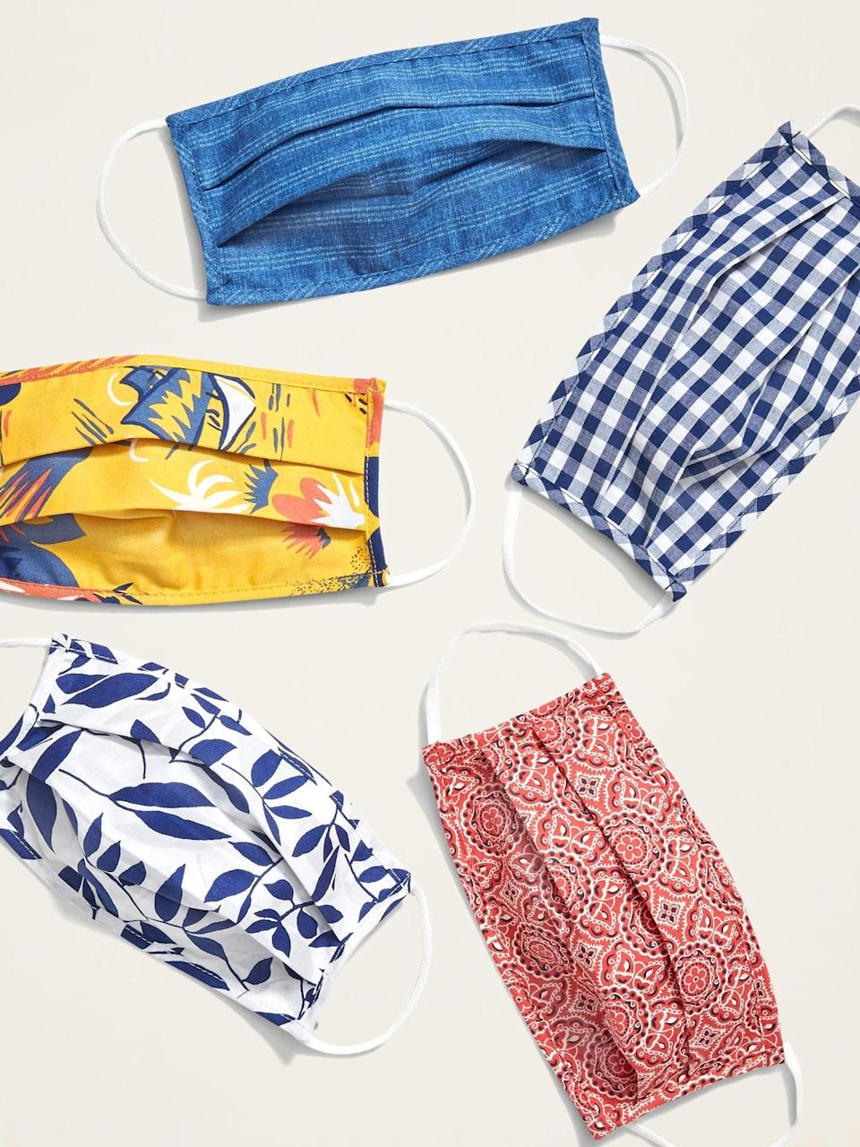 <p>Made from excess fabric from some of Old Navy's most popular items, these <span>Old Navy Variety 10-Pack of Triple-Layer Cloth Face Masks</span> ($25) help keep others around you safe. Each pack comes with ten surprise patterns, making it that much more fun.</p>