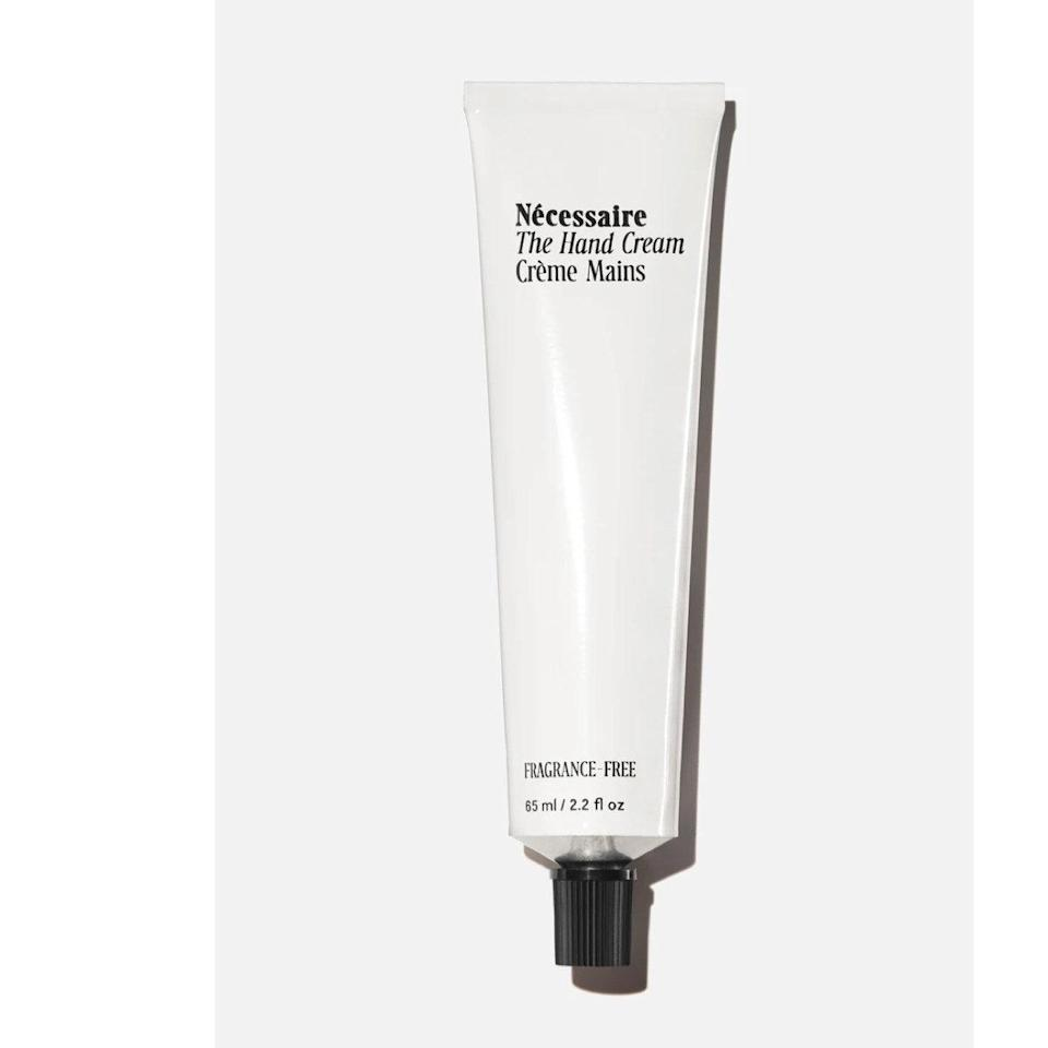 """This hand cream is compact, but don't let that fool you. A little goes a long way with this one. The texture is on the lighter side, requiring less product to coat my hands, and it rarely feels greasy on. I also love the fact that it's fragrance-free because scents often irritate my opened <a href=""""https://www.glamour.com/story/best-hand-mask-for-dry-cuticles?mbid=synd_yahoo_rss"""" rel=""""nofollow noopener"""" target=""""_blank"""" data-ylk=""""slk:cuticles"""" class=""""link rapid-noclick-resp"""">cuticles</a> and cause my skin to sting. (I'm a biter, but working on the habit!) —<em>T.G.</em> $20, Nécessaire. <a href=""""https://www.nordstrom.com/s/necessaire-the-hand-cream/5596032?country=US&currency=USD&mrkgadid=3370073326&mrkgcl=760&mrkgen=gpla&mrkgbflag=0&mrkgcat=Beauty&utm_content=95327513914&utm_term=pla-309943851091&utm_channel=mid_nd_shopping_standard&sp_source=google&sp_campaign=9126851692&adpos=&creative=415730251326&device=c&matchtype=&network=g&acctid=21700000001689570&dskeywordid=92700051235804072&lid=92700051235804072&ds_s_kwgid=58700005618024088&ds_s_inventory_feed_id=97700000007631122&dsproductgroupid=309943851091&product_id=29517264&merchid=1243147&prodctry=US&prodlang=en&channel=online&storeid=&locationid=2840&targetid=pla-309943851091&campaignid=9126851692&adgroupid=95327513914&gclid=Cj0KCQiA5bz-BRD-ARIsABjT4ngM6kRMPJp_AwuuioD9C3RPza9owJ5YCr7lb79FR__IdtflJNqs6ekaAnTlEALw_wcB&gclsrc=aw.ds"""" rel=""""nofollow noopener"""" target=""""_blank"""" data-ylk=""""slk:Get it now!"""" class=""""link rapid-noclick-resp"""">Get it now!</a>"""