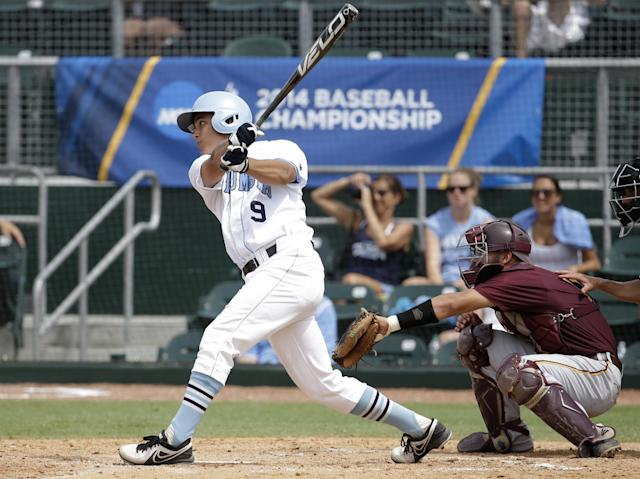 Columbia's John Kinne (9) follows through on a single as Bethune-Cookman catcher Zach Olszewski looks on in the fifth inning during an NCAA college baseball regional tournament in Coral Gables, Fla., Saturday, May 31, 2014. Bethune-Cookman defeated Columbia 6-5. (AP Photo/Lynne Sladky)