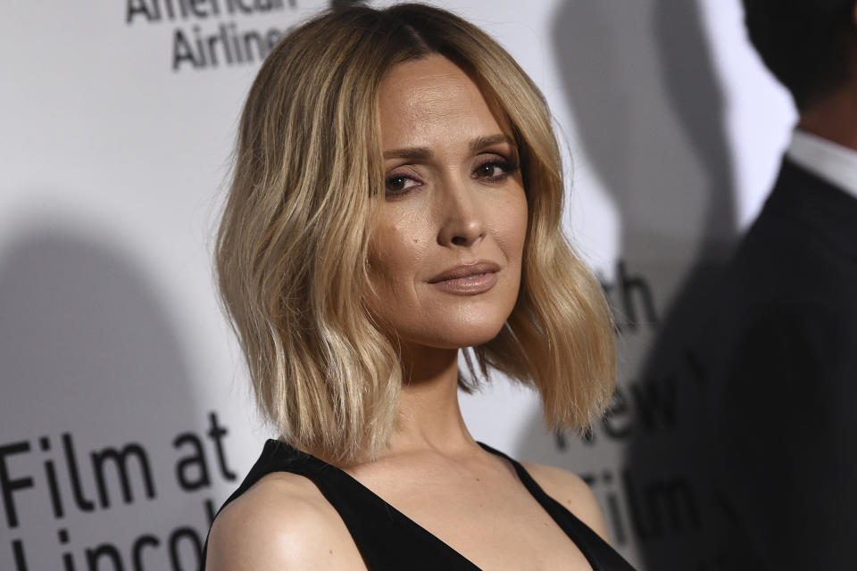 """FILE - In this Sept. 27, 2019, file photo, Rose Byrne attends the world premiere of """"The Irishman"""" at Alice Tully Hall during the opening night of the 57th New York Film Festival in New York. Hollywood news outlet Deadline reported that Byrne was set to play New Zealand Prime Minister Jacinda Ardern in the movie """"They Are Us,"""" which was being shopped by New York-based FilmNation Entertainment to international buyers. (Photo by Evan Agostini/Invision/AP, File)"""