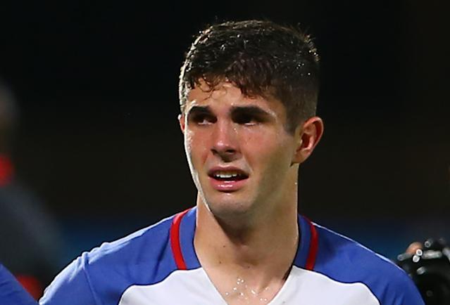 Christian Pulisic was in tears after Tuesday night's match. (Getty)