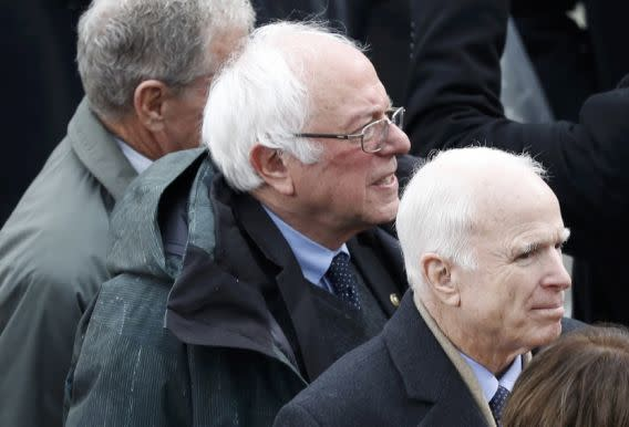 U.S. Sens. Bernie Sanders and John McCain arrive for the inauguration ceremonies at the Capitol. (Photo: Brian Snyder/Reuters)